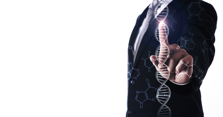 businessman pointing dna helix