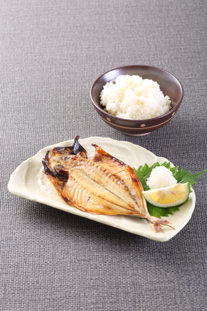 grilled horse mackerel and white rice