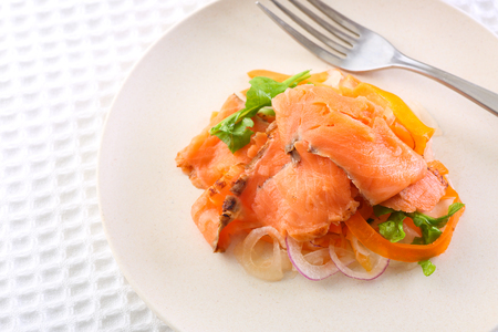 Marinade salmon on the table Stock Photo
