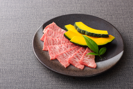 Japanese Beef served on a plate Stock Photo