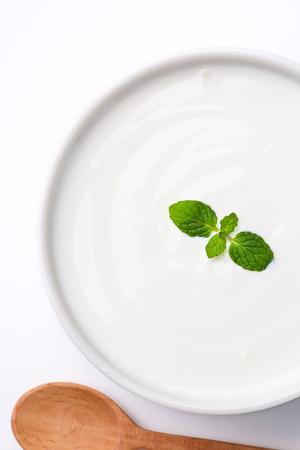 yogurt on white background