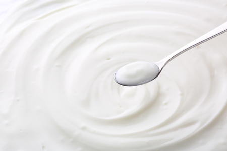 yogurt and spoon