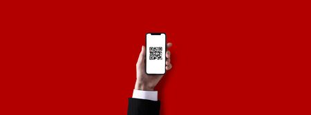 QR code and smartphone, red background