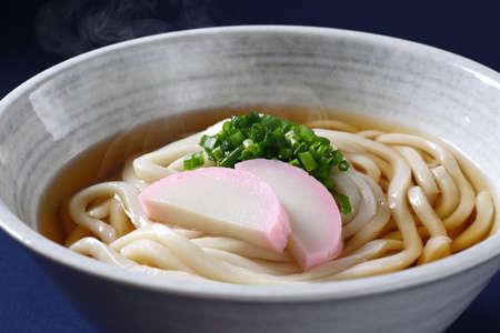 Japanese udon on a dark blue background