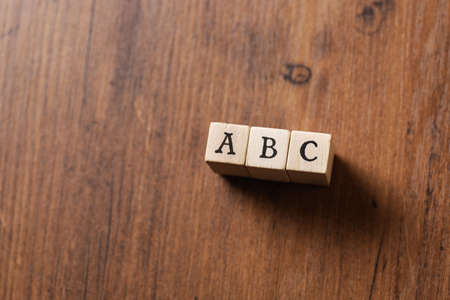 ABC word written on wood block
