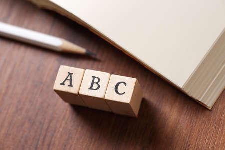 ABC word written on wood block