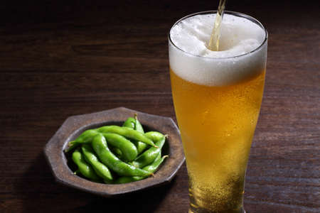 Japanese edamame and draft beer