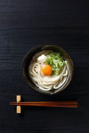 japanese udon with raw egg 写真素材