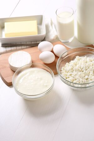 Many dairy products on white background 写真素材