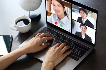 Asian woman doing remote work