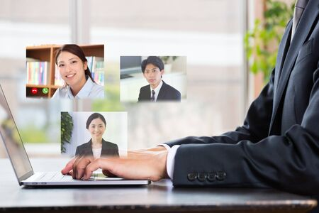 Asian businessman doing remote work Standard-Bild