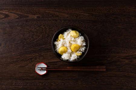 Chestnut rice on the table 版權商用圖片