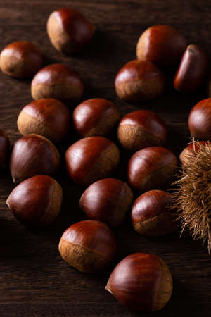 Lots of chestnuts on the table