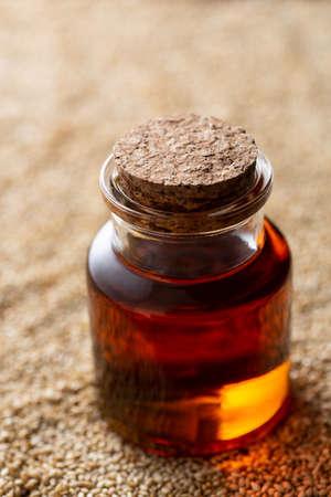 Sesame oil in a glass bottle Stockfoto