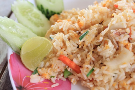 Fried rice with crabmeat. photo