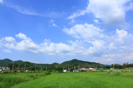 clear blue sky: Hills and farms in thailand