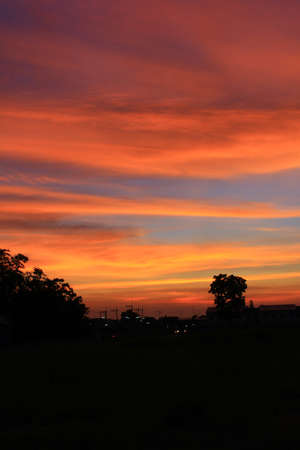The evening sky red in Thailand Stock Photo - 13406623