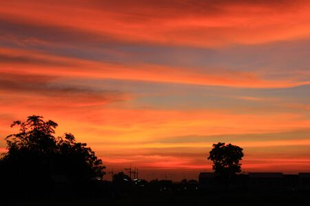 The evening sky red in Thailand Stock Photo - 13406635