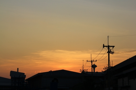 Morning in thailand pole electricity Industrial plants  photo