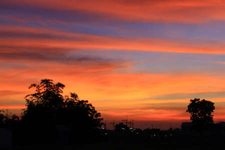 The evening sky red in Thailand Stock Photo - 14030127