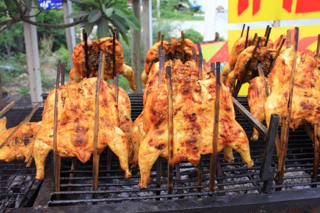 jamaican food: Grilled chicken in Thailand  Stock Photo