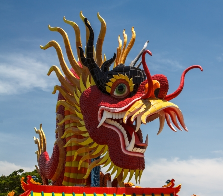 Sky blue beautiful and gold dragon Stock Photo - 20295765