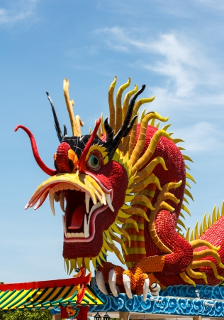 Sky blue beautiful and gold dragon Stock Photo - 20301212
