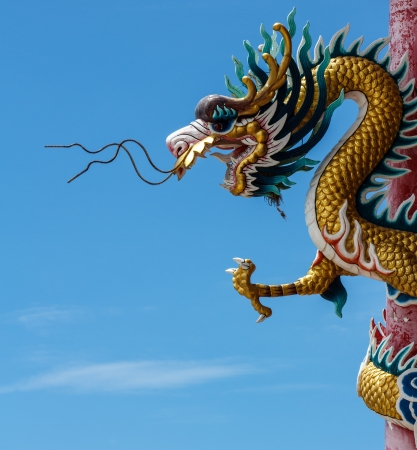 Head of Dragon on the blue sky in thailand Stock Photo - 20295373