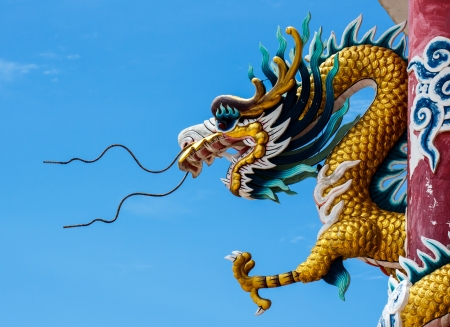 Sky blue beautiful  and gold dragon Stock Photo - 20301164