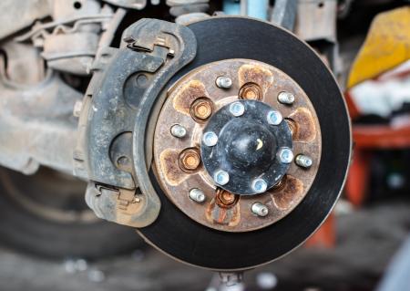 Closeup of car mechanic repairing brake pads Stock Photo - 20951654