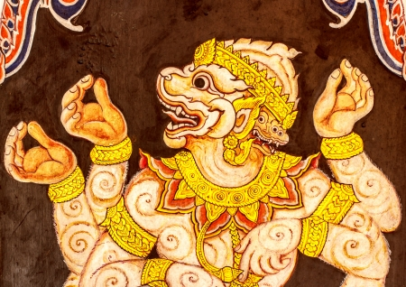 Hanuman painting on the wall