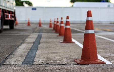 orange cones set up to direct traffic Stock Photo