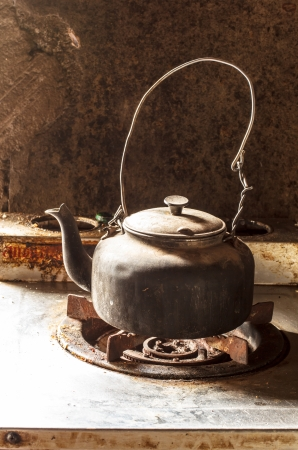 Kettle in the kitchen. Stock Photo