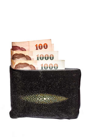 Wallet money of thailand isolated on white backgrounds photo