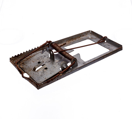 Rat trap on white background photo
