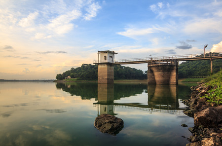 rainfall: Floodgates of the dam and the way to water gate control valve