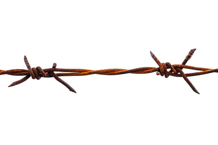 Rusted barbed wire isolated on white background photo