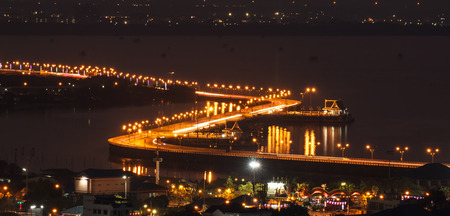 Bridge with beautiful lights in the evening.