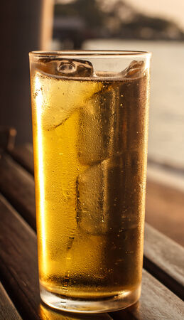 Cold beer in the light of the evening sun.