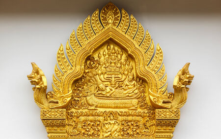 woodcarving: Door woodcarving in temple, Thailand