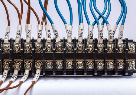 plc: PLCs input wires used in industry. Stock Photo