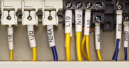 plc: Wiring -- Control panel PLC with wires Stock Photo