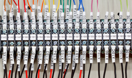PLCs input wires used in industry. Stock Photo