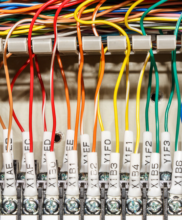 programmable: PLCs input wires used in industry. Stock Photo