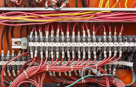 plc: Control panel with wiring - cords old. Stock Photo