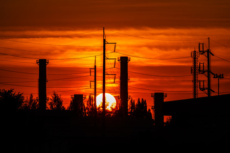 tall chimney: Power plants in the early morning