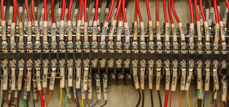 wiring: Wiring -- Control panel with wires industrial factory Stock Photo