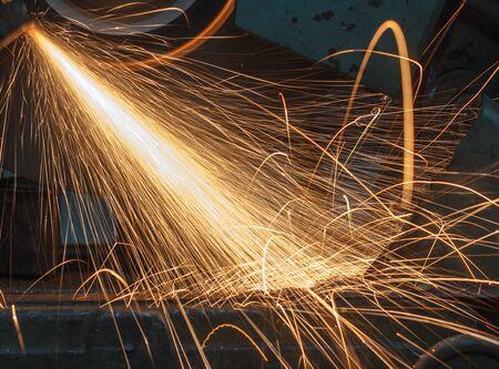 welding worker: worker with welding metal industrial Stock Photo