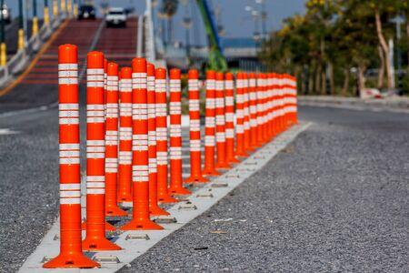traffic cones: Traffic cone Traffic cone in the road Stock Photo