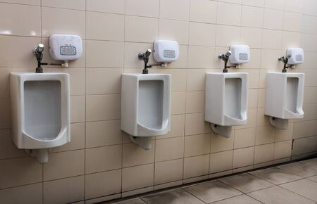 chamber pot: mens chamber pot dirty in bathroom